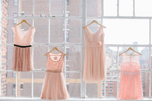 Loft wedding pink bridesmaid dresses