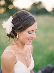 Bride hairstyle with white flower