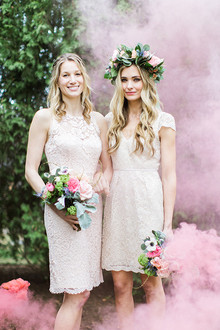 Bridesmaid smoke bomb portrait