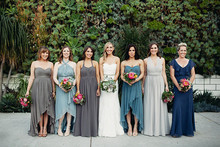 Grey and blue bridesmaid dresses