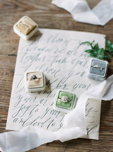 Pastell ring boxes and calligraphy