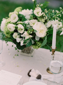 Organic spring green and gold wedding tablescape