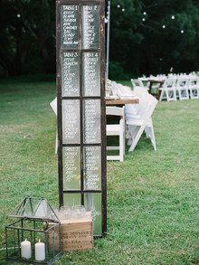 Window frame escort card display