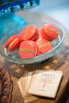 Gold and coral macaroons