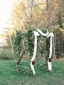 Rustic Fall wedding altar