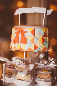 Colorful modern cake with topper