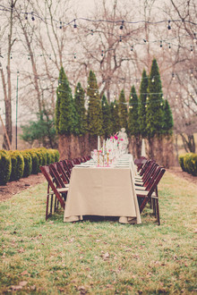 Outdoor rustic wedding reception