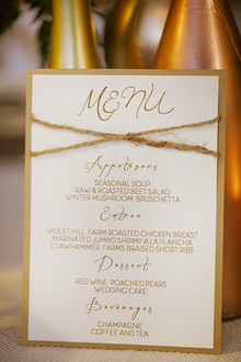 White and cream menu with twine detail