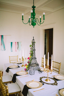 Marie Antoinette inspired gold and black tablescape