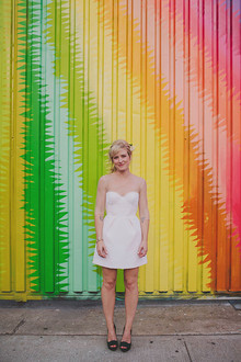 Bride with colorful backdrop