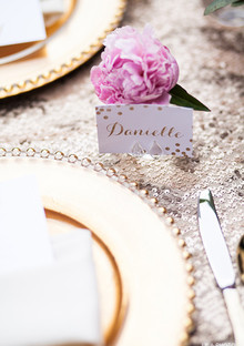 Gold and pink escort card