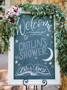 Chalkboard sign for baby shower
