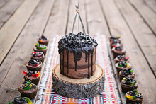 Chocolate cake and worm cupcakes