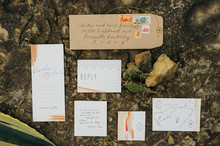 Hand-dip-dyed invitation suite