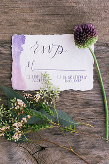 Romantic hand-lettered wedding invitation