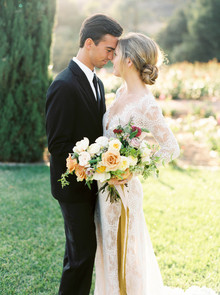 Summer garden wedding portrait