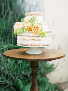 Romantic naked cake