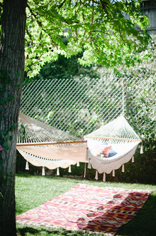 backyard macrame hammock