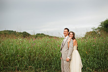 Wildflower fields wedding portrait
