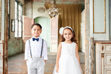 Ring bearer and flower girl portrait