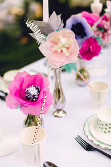Paper flower tablescape