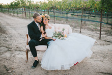 Tuscan vineyard wedding portrait