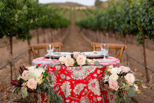 Fall wine country wedding tablescape