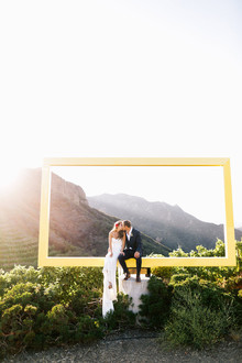 Romantic Saddle Rock Ranch wedding portrait
