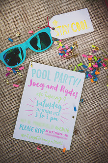 Neon pool party invites
