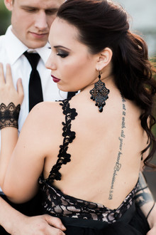 Black lace wedding gown