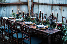 Black and gold wedding tablescape
