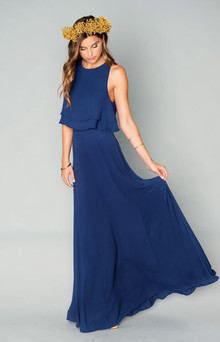 navy bridesmaid gown