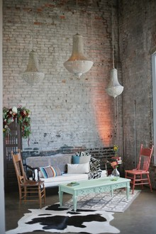 Urban bohemian wedding lounge area