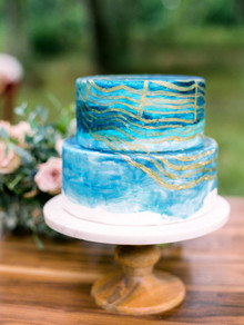 Two tiered blue wedding cake