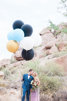 Whimsical desert wedding portrait