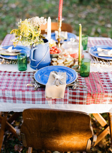 Rustic fall dinner outdoors