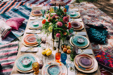 Bohemian bridal shower tablescape