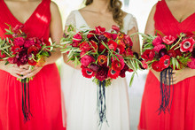 Red anemone bridesmaid bouquet