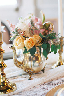 Vintage tea pot floral centerpiece