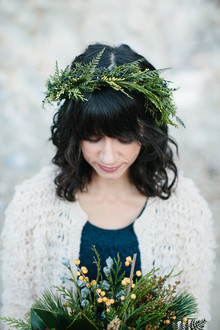 Pine garland bridal crown