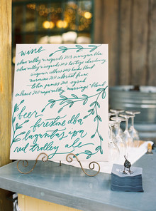 Calligraphy cocktail sign