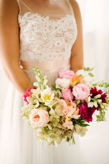 Pink rose and peony bridal bouquet