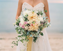 Yellow peony bridal bouquet