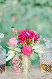 Jewel toned wedding florals