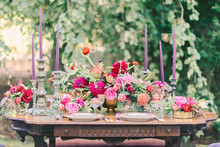 Jewel toned wedding tablescape