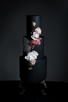 Dark floral wedding cake