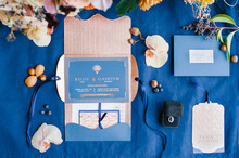 Blue and copper wedding invitation suite