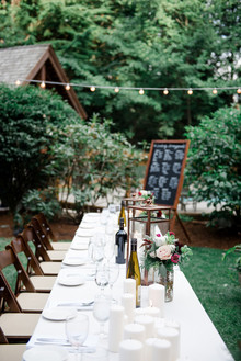 Bohemian backyard wedding reception