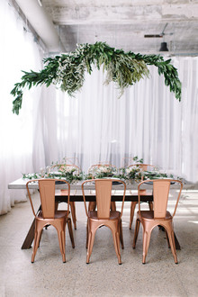 Copper + green industrial modern wedding tablescape