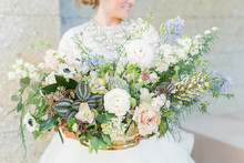 Soft blue spring bridal bouquet